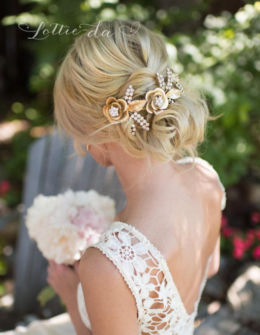 Mariage - Gold Boho Wedding Headpiece, Grecian Gold Hair Wreath, Boho Gold Flower Rose headband, Wedding Hair Vine, Boho Wedding Headpiece - 'ROSETTA'