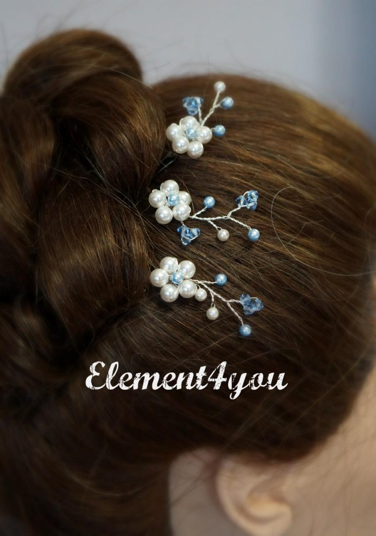 Nozze - Something Blue Bride Bridal Hair Bobby Pins Clips Swarovski pearls Flower beaded silver pins Hair piece Wedding Flower girl accessories