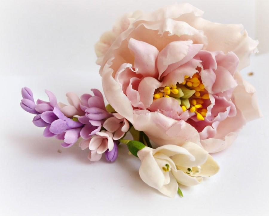 Свадьба - Barrette with Peony and Lilac - Wedding Hair Pieces - Barrettes - Women Hair Accessories - Flower Floral Barrettes - Gift