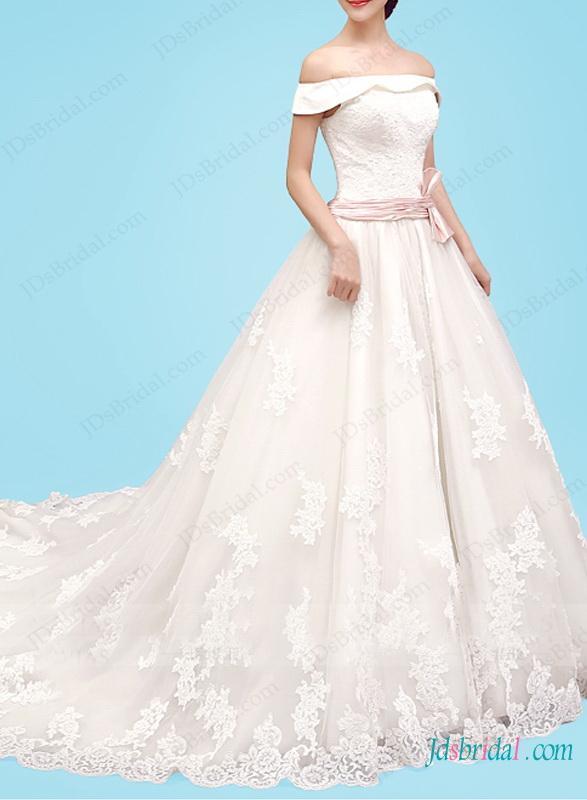 Hochzeit - H1469 Beautiful off shoulder dreamy princess lace wedding dress