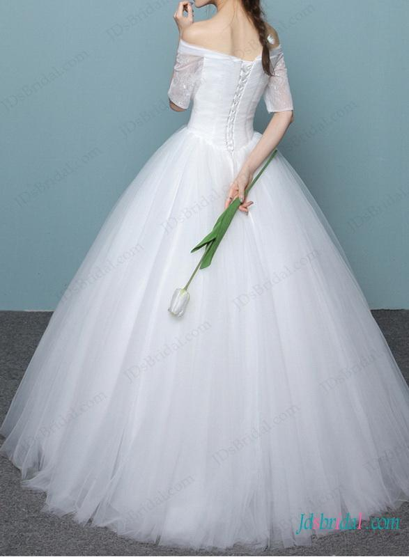 H1470 Dreamy Princess Off Shoulder Ball Gown Wedding Dress 2585801