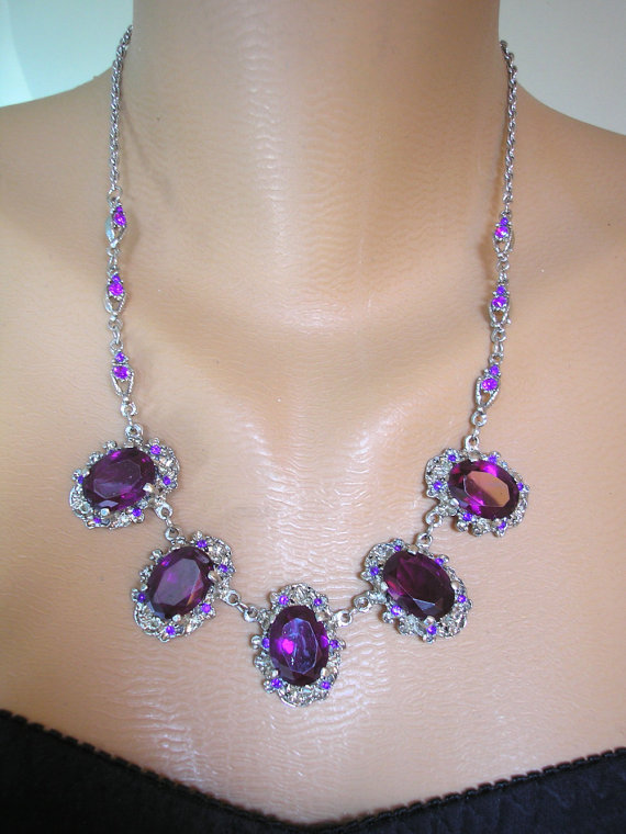 Mariage - Amethyst Necklace, Purple Rhinestone Choker, Vintage Bridal, Wedding Jewelry, Purple Jewelry, Party Necklace, Prom Jewelry, Diamante, Deco