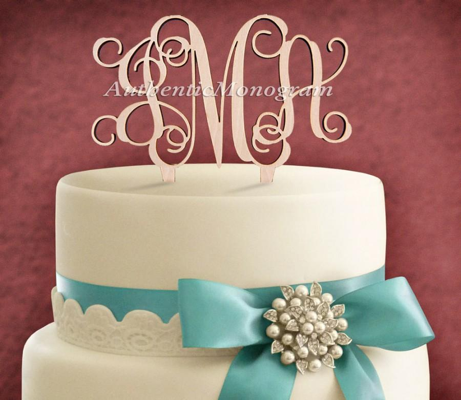 Mariage - 4inch CUSTOM Wooden CAKE Topper 3 Letters Monogram, Wedding, Initial Monogram, Birthday, Celebration, Anniversary, Special Occas 4101p
