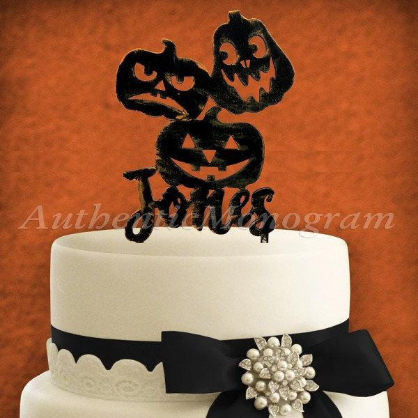 Wedding - Custom Name HALLOWEEN JACK O LANTERN Pumpkins Wooden Cake Topper,Painted Black with Silver Glitter  94330P