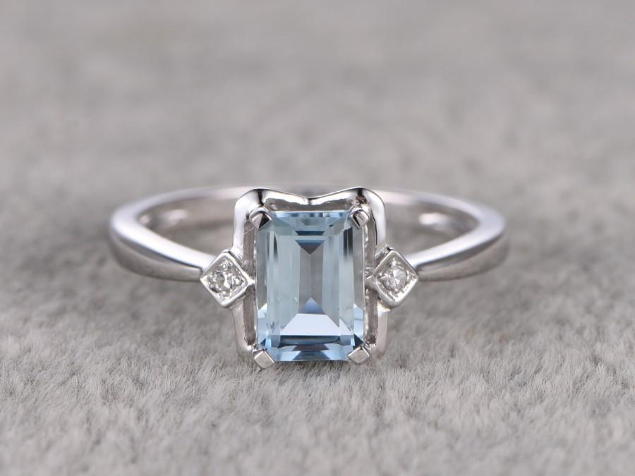 102ctw aquamarine engagement ringvs diamond wedding band14k goldgemstone promise ringbridal ringemerald cut if blue aquamarineprong - Engagement Ring Vs Wedding Ring