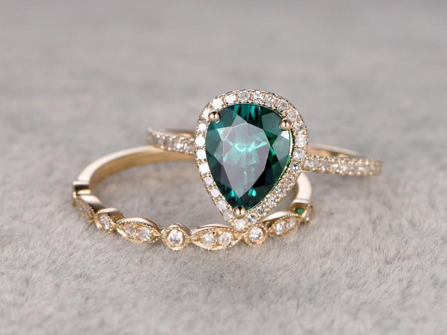 2pc emerald ring bridal set engagement ring yellow gold