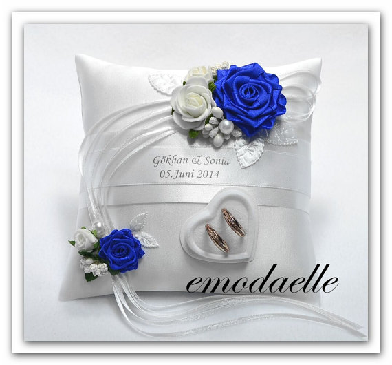 Свадьба - Personalized wedding ring cushion pillow with rings holder box