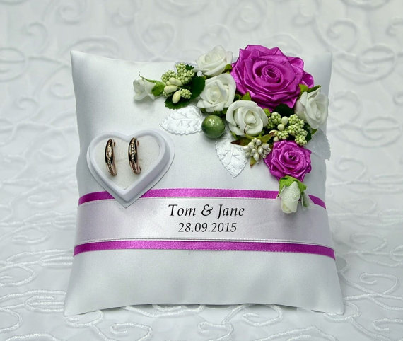 Personalized Wedding Ring Cushion Pillow With Rings Holder Box