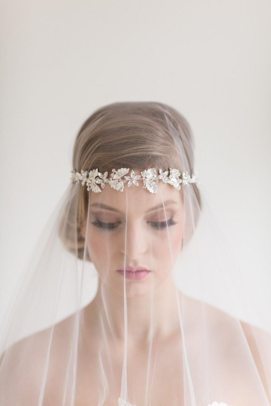 Свадьба - Crystal Ribbon Headband, Wedding Floral Headband, Bridal Rhinestone Headband, Ribbon Headband