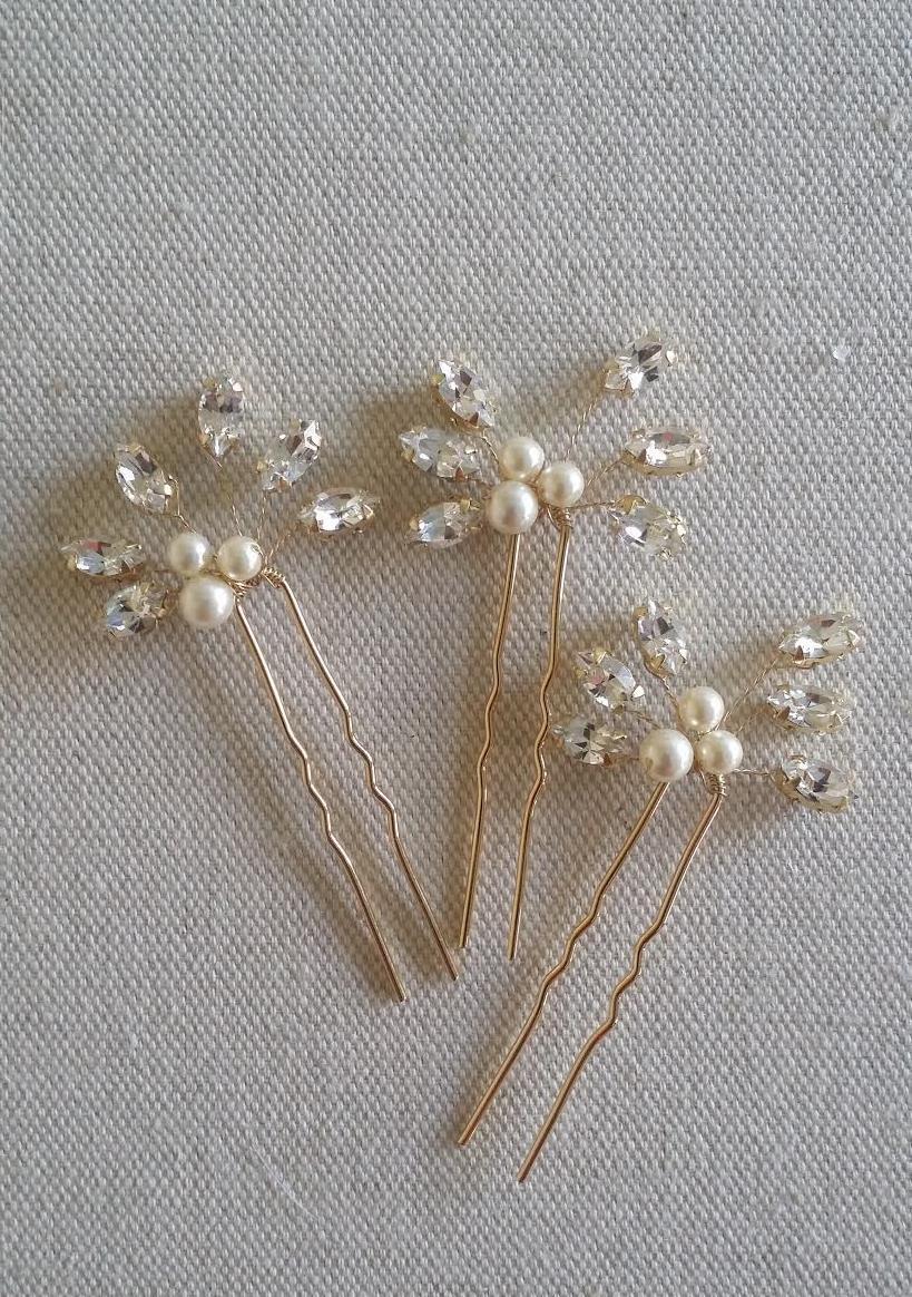 Hochzeit - Bridal Hair Pins, Wedding Hair Pins, Swarovski Hair Pins, Pearl Hair Pins