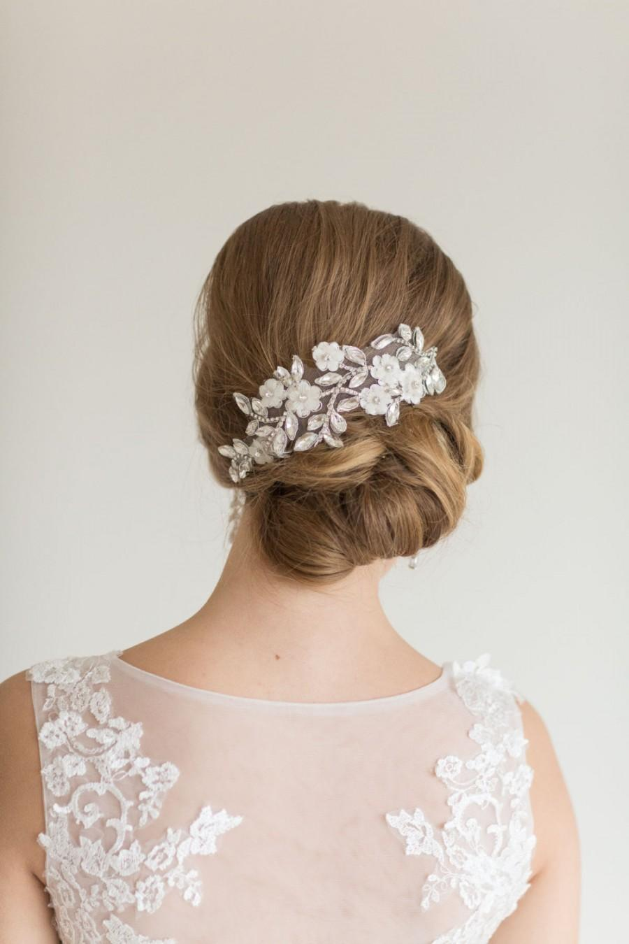 Свадьба - Lace Headpiece, Bridal Crystal and lace Hair Clips, Wedding Hair Accessory