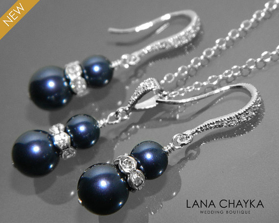 8c254a455 Navy Blue Pearl Earrings and Necklace Set STERLING SILVER Cz Pearl Set  Swarovski Night Blue Pearl Jewelry Set Wedding Dark Blue Jewelry Set