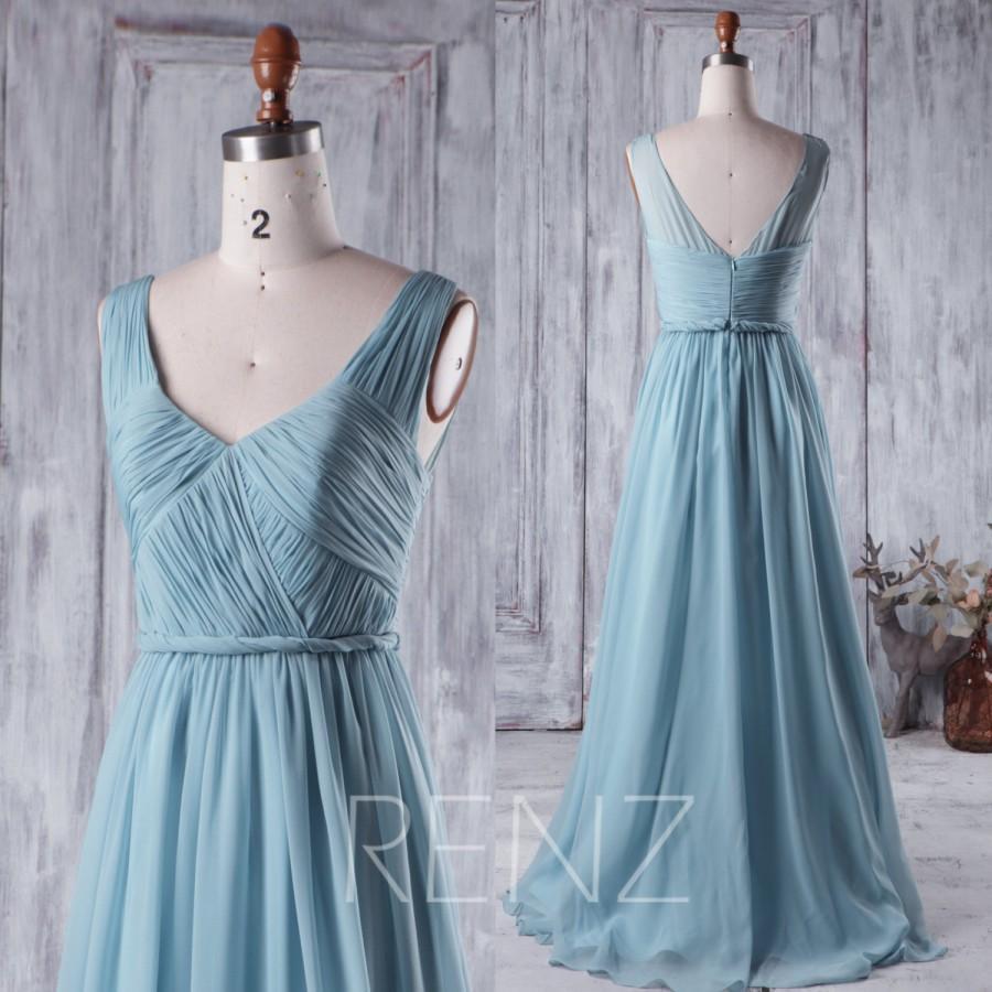 2016 Long Dusty Blue Bridesmaid Dress, V Neck Chiffon Wedding Dress ...