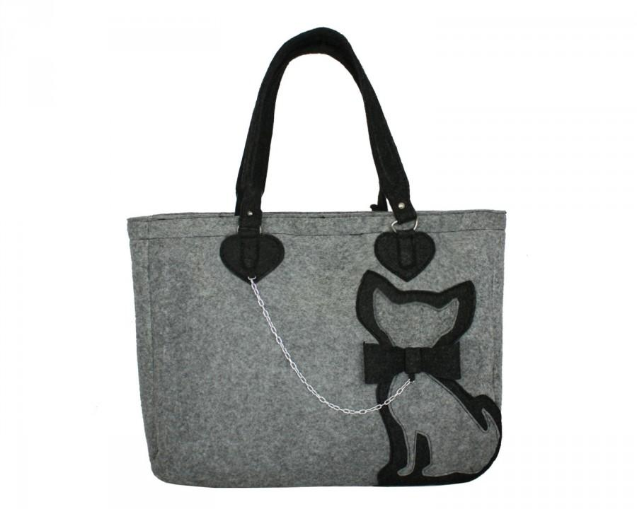 Boda - Cute Cat Bag Grey Elegant Bag Grey Felted Bag for Woman Wool Felt Bag Girlfriend Gift Christmas Gifts Travel Bag Grey Bag Mom Gift