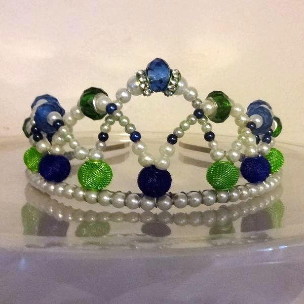 Свадьба - Blue and Lime Green Crystal & Glass Pearl Curved Wire Wrapped Tiara OOAK Go Seahawks