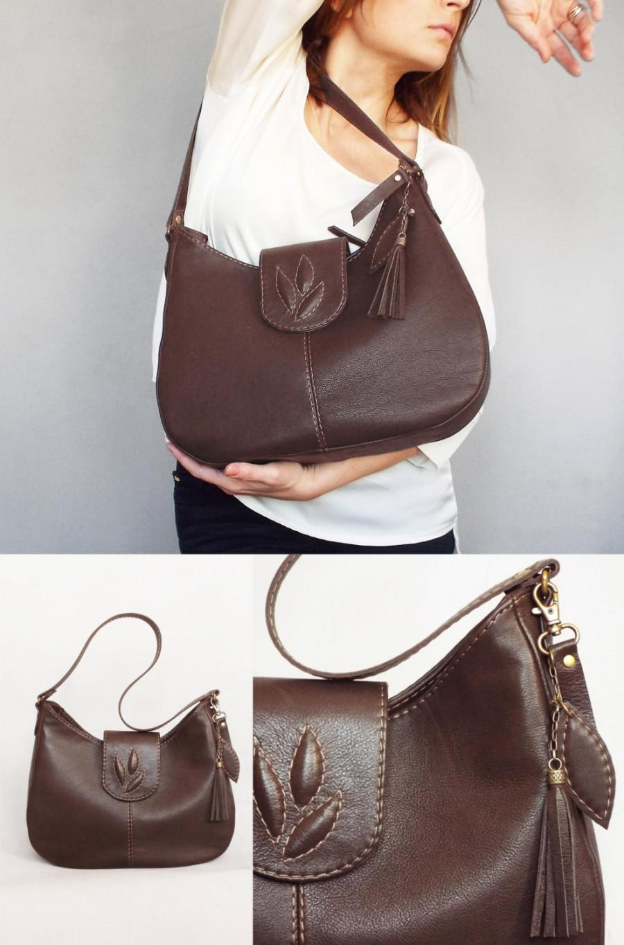 1220c34d3 Brown Leather Hobo Bag. Medium Size Leather Purse. Brown Leather ...