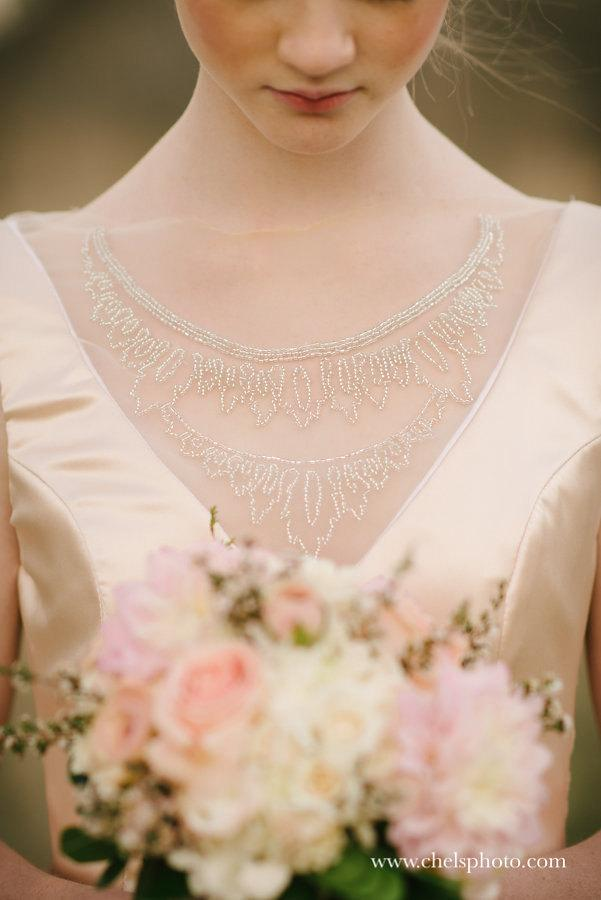 Wedding - Low back, blush silk charmuese, mermaid wedding gown with front beadwork /// Isabella Gown