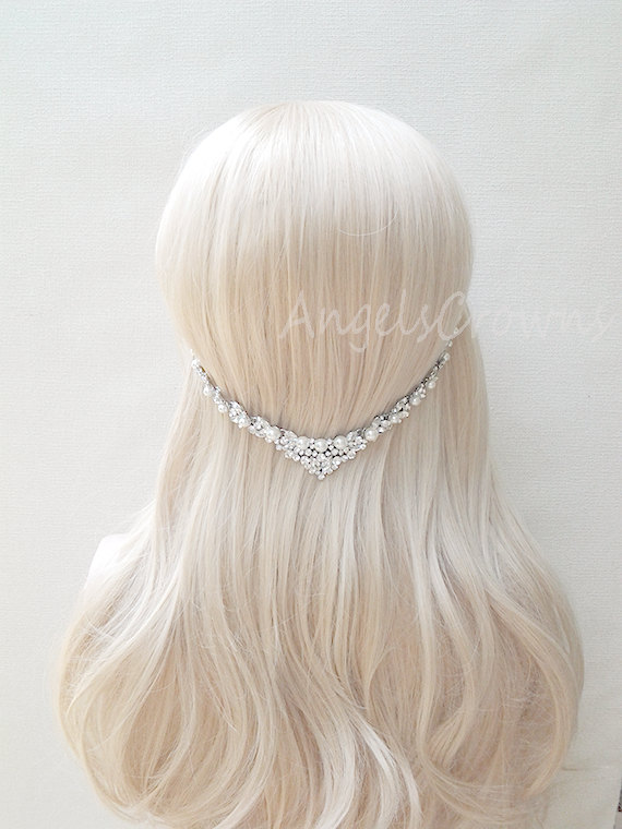 Свадьба - Pearl Wedding Hair Jewelry Silver bridal hair chain headpiece statement crown bridal head chain beach wedding prom bridesmaid tiara circlet