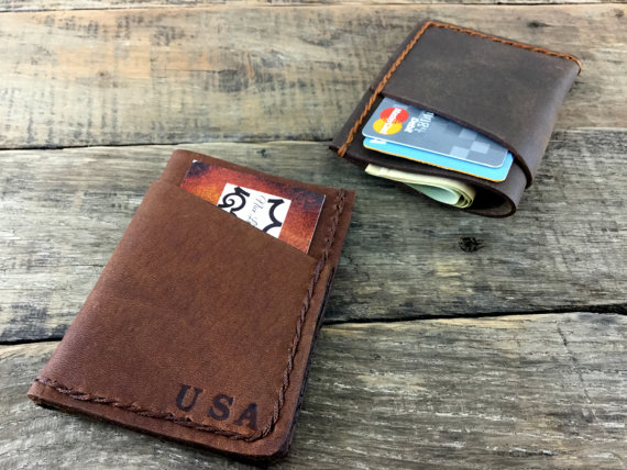 Свадьба - Front Pocket Wallet, Personalized Wallet, Minimalist leather Wallet, Gift for him, Groomsmen Gift, mens leather wallet, NiceLeather, NL103