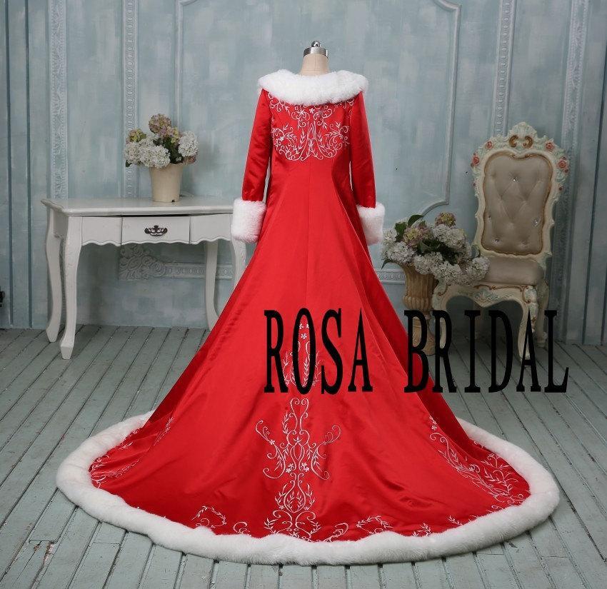 Wedding - Bridal long sleeve cloak,  Bridal embroidery cape wedding, Winter long sleeve bridal cloak Custom Color