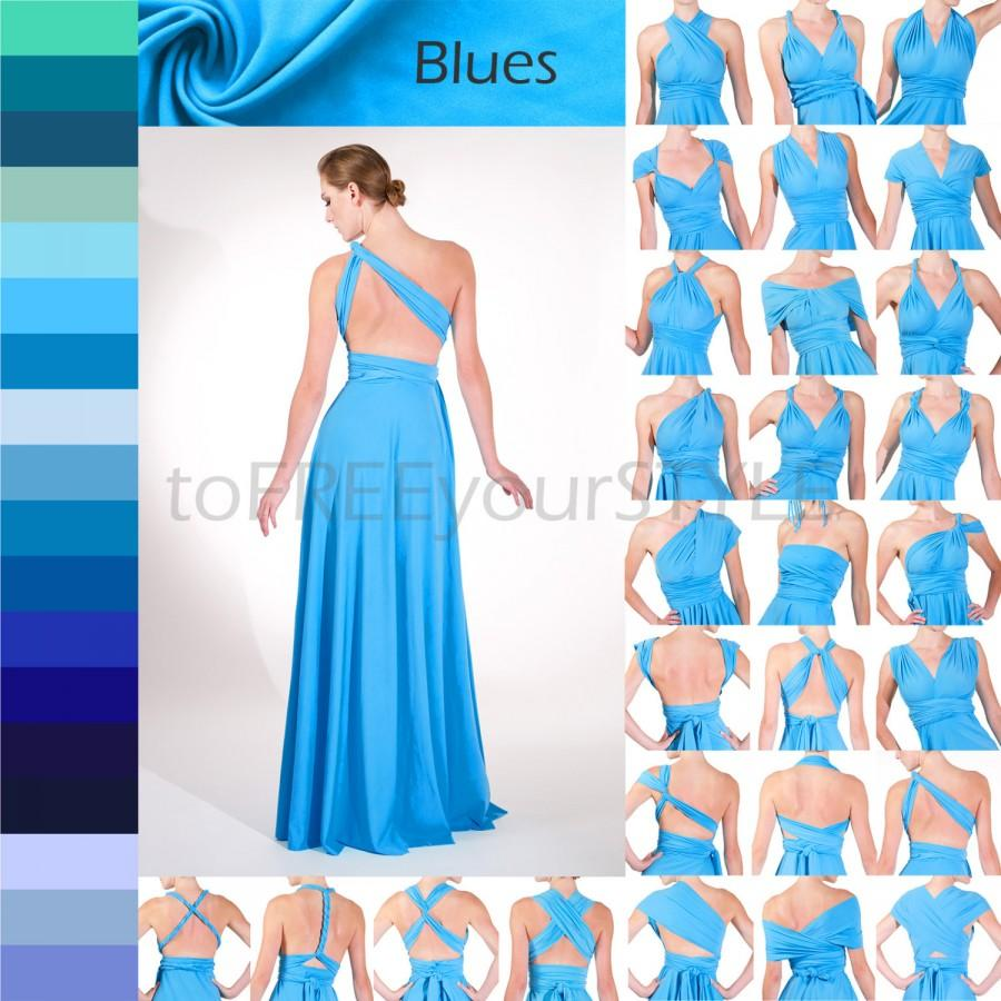 Long Infinity Dress In BLUES, FULL Free-Style Dress, Convertible ...