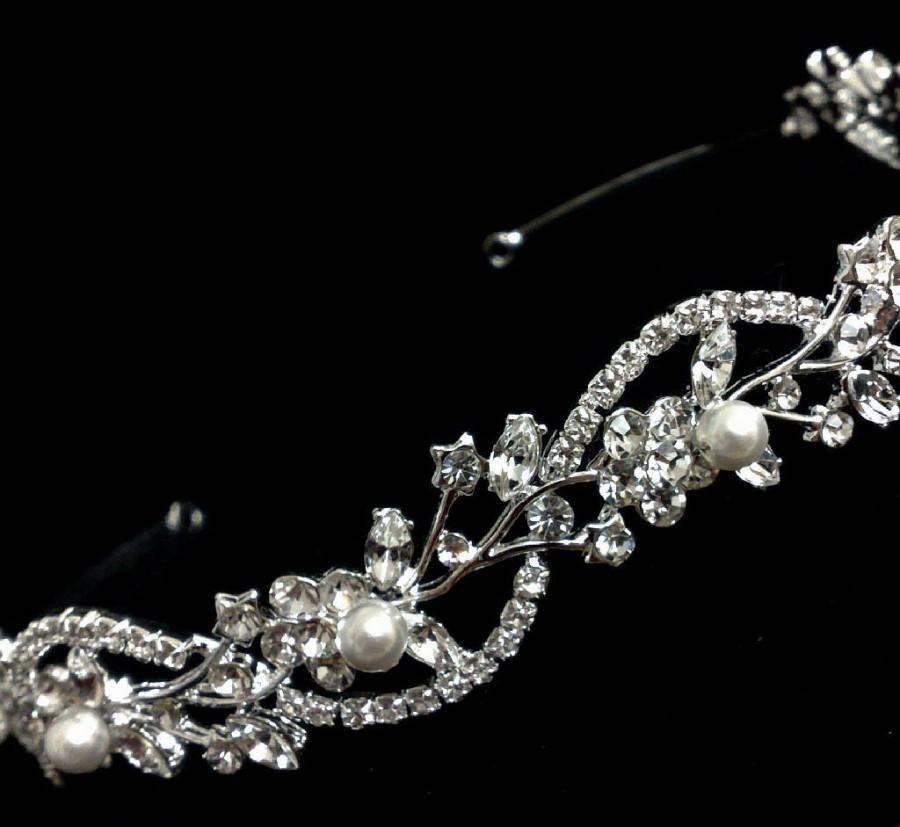 Hochzeit - Vines Bridal Tiara, Crystal Bridal Halo, Flower Wedding Crown, Pearl Wedding Tiara, Swarovski Hair Jewelry, Leaves Crown, Gift for Her ADORN