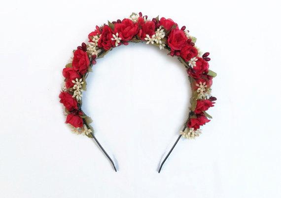 Hochzeit - Red Rose Floral Headband, Red Flower Headpiece, Red flower Crown, Red, Crown, Red Rose Headband, Flower Girl Headpiece, Couronne de Fleurs
