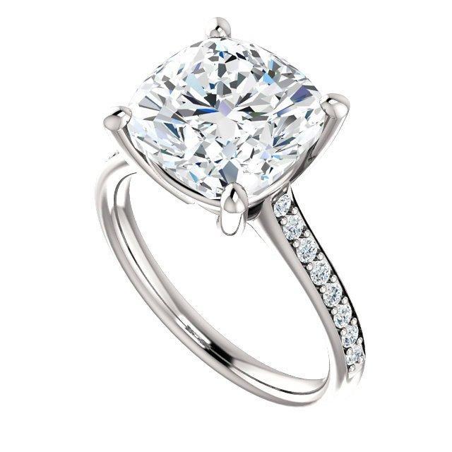 Wedding - 5 Carat (10mm) Cushion Forever One Moissanite & Diamond Ring