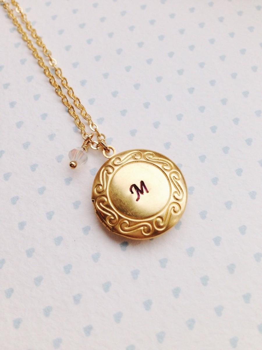 Initial Locket Birthstone Mother Of The Bride Gift Round Necklace Bridesmaid Jewelry Boho Vintage