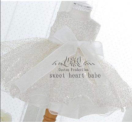 Wedding - Flower Girl Dress, flower girl dress with sequins-Christening dress-cheap Baby Dress-tulle Flower girl Dress ,birthday party dress-sw