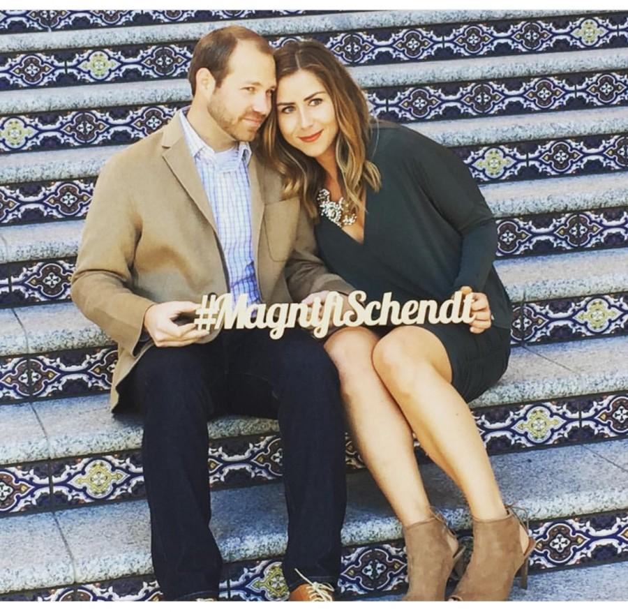 Wedding - Wedding Hashtag Sign Personalized Photo Prop or Wedding Decor, Wooden Words Hashtag Sign, Name in Wood (Item - PHT100)