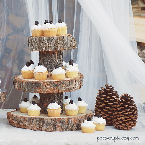 Rustic Wood Tree Slice 3 Tier Cake And Cupcake Stand For