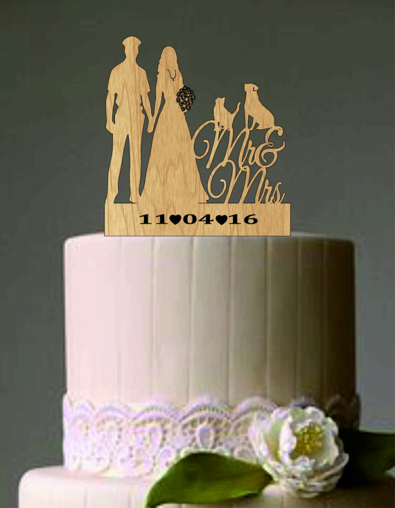 Mariage - police officer and bride wedding cake topper with cat and dog - Unique Rustic Wedding Cake Topper - Custom Silhouette Weddin Cake Topper