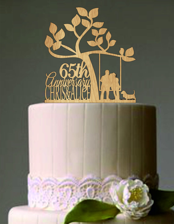 Свадьба - Happy 65 th anniversary cake topper - Wedding Couple in a Swing with Cat or dog - Unique Rustic Wedding Cake Topper - Wedding Cake topper