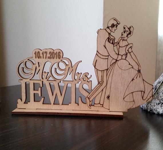 Свадьба - Cinderella and Prince, Rustic Wedding Cake Topper, Disney Wedding Cake Topper, Silhouette Custom Wedding Cake Topper, Unique cake topper