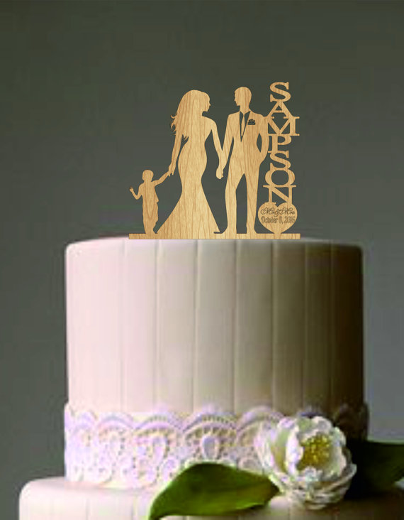 Свадьба - family wedding cake topper with little boy, bride and groom silhouette, rustic cake topper, unique wedding cake topper, Mr and Mrs topper