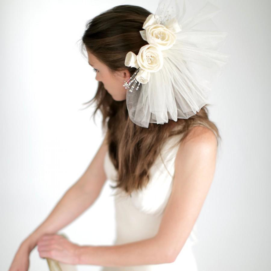 Mariage - Silk Floral Back Piece with Tulle Pouf Veil, Bridal Veil, Wedding Accessories, Floral Comb with Veil, Style No. 4146