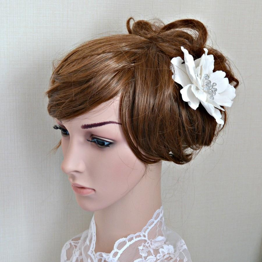 Bridal Hair Flower Wedding Hair Piece Sparkly White Flower Hair