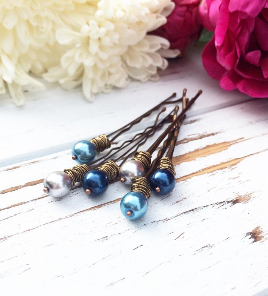 زفاف - Blue pearl bobby pin beaded hair pin for wedding decorative bobby pin set bridal hair accessories boho clip flower girl gift for bridesmaid