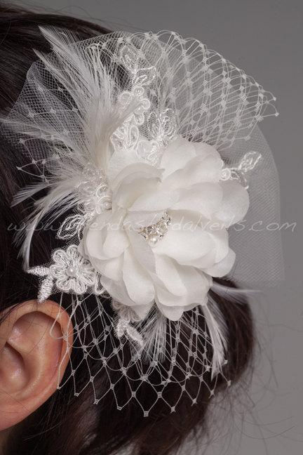 Mariage - Bridal Hair Piece, Silk Flower and Lace, Netting and Tulle Accents, Birdcage Fascinator - Essence