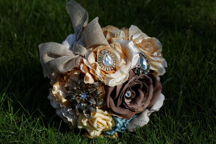 Свадьба - Fabric and Brooch Bouquet in Autumn Colours of Gold, Brown, Beige and Sage Green with Hessian Burlap Bow