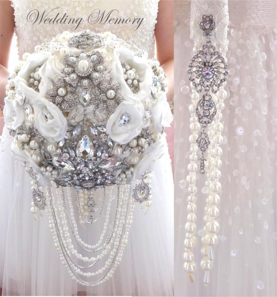 Wedding - BROOCH BOUQUET with pearl and crystal cascading, jeweled with silver jewelery