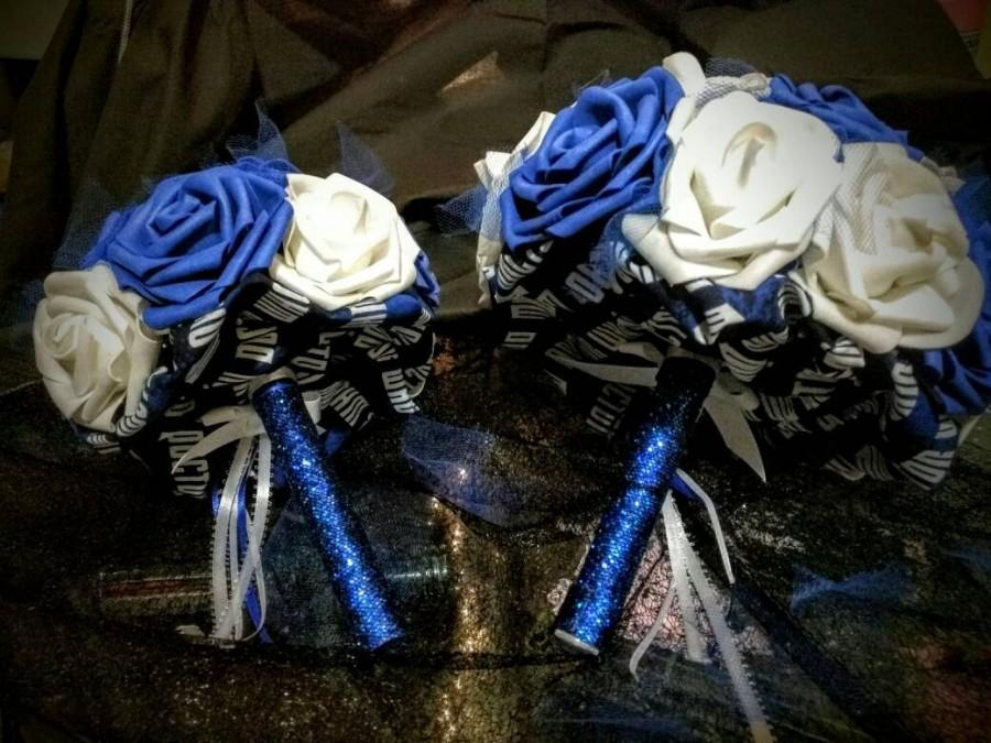 Wedding - Tardis Blue and White Dr. Who inspired Bouquet for Wedding Shown In Bride and Bridesmaid size ~  Multiple Sizes Available ~ Customizable