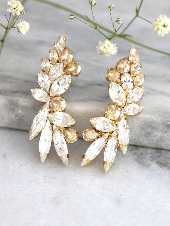Mariage - Ear Cuff Earrings,Swarovski Ear Cuff earrings, Bridal Climbing Earrings,Champange Earrings,Ear Crawler Earrings,Ear Cuff, Trending Jewelry