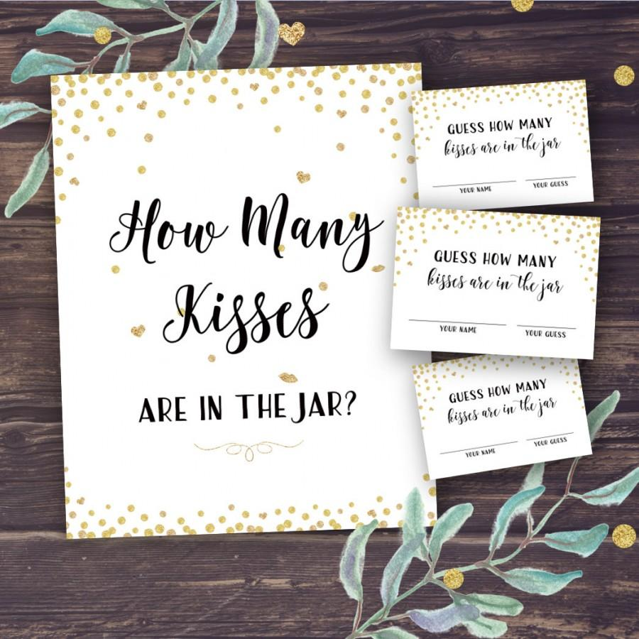 guess how many kisses bridal shower printable gold confetti bridal shower games wedding shower guessing activity instant download diy