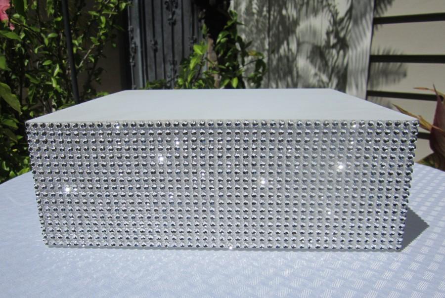 8 22 Square Wedding Cake Stand Riser Rhinestone Mesh Shines Like Real Diamonds White Laminated Board Top 4 Tall Styrofoam 12 Colors