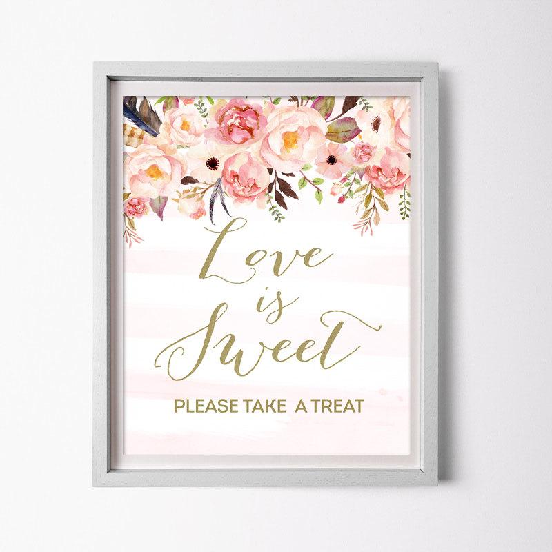 love is sweet sign for floral bridal shower boho printable pink and gold shower favor table sign love is sweet take a treat sign 0001