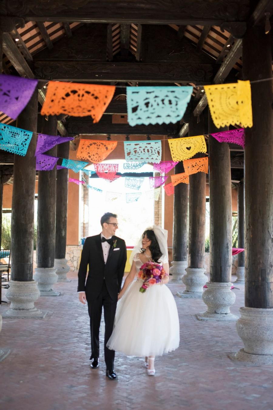 Mariage - SALE - 3 pack Wedding Garland Banner AMOR VARIETY Papel Picado Fiesta Wedding Flags - Mexican Hand Cut Tissue Paper Flags
