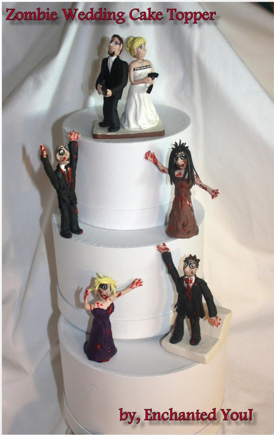 زفاف - Zombie, Attack of the Zombies by, Personalized, Custom, Wedding Cake Topper