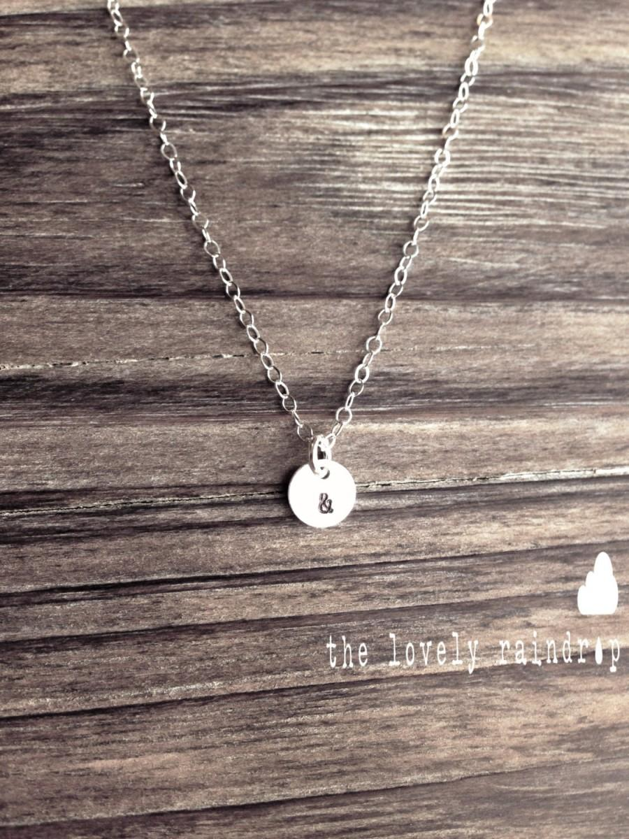 """Mariage - SALE - Tiny Customized Sterling Silver Necklace - Hand Stamped Initial 1/4"""" disc - Personalized - Everyday wear - The Lovely Raindrop"""